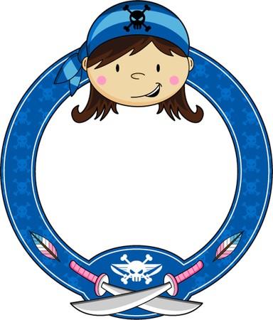 Cartoon Bandana Pirate Girl Ilustração