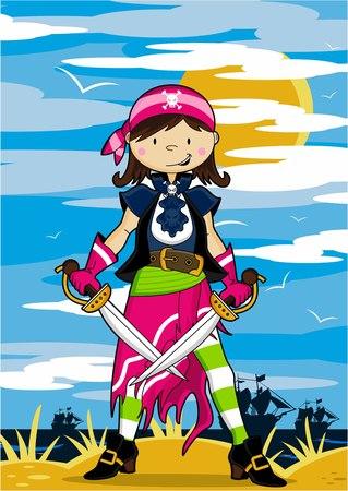 Cartoon Pirate Girl