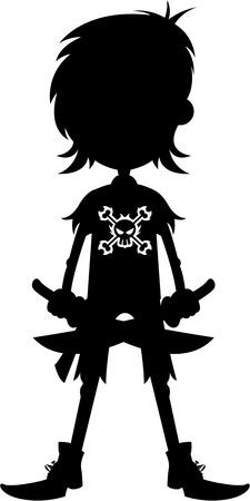 Cartoon piraat in silhouet