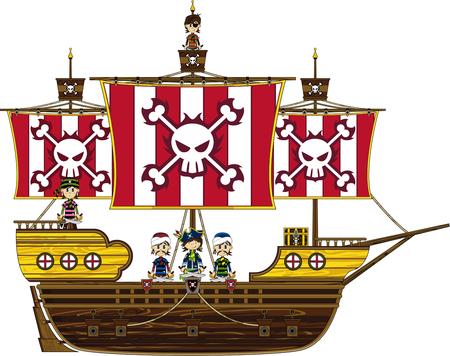 漫画の海賊と海賊船 写真素材 - 81691747