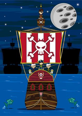 漫画の海賊と海賊船 写真素材 - 81691749
