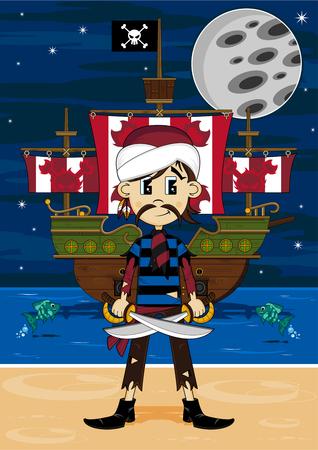 漫画ターバン海賊と船 写真素材 - 81691751