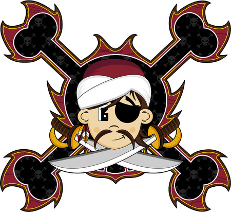 Cartoon Eyepatch Turban Pirate