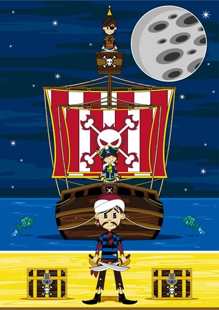 Cartoon Pirates en Pirate Ship