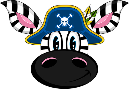 Cartoon Zebra Pirate Captain Illustration