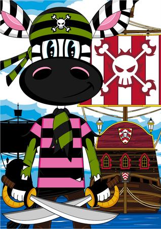 piracy: Cartoon Zebra Pirate and Ship