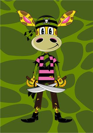 Cartoon Giraffe Bandana Pirate Illustration