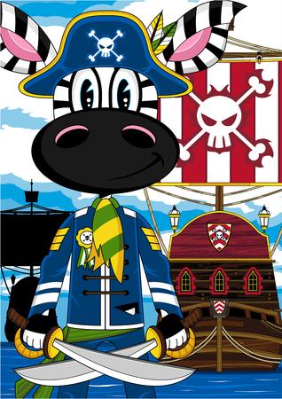Cartoon Zebra Pirate Captain and Ship