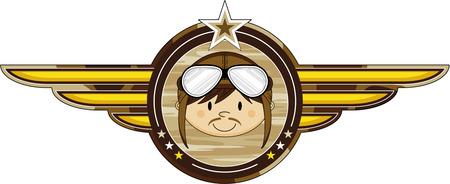 Cartoon WW1 Pilot