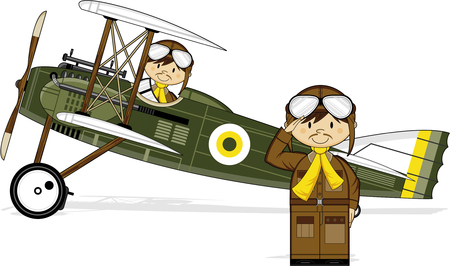 Cartoon WW1 Biplane and Pilots Illustration