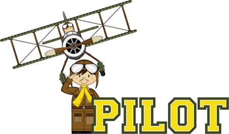 Cartoon WW1 Biplane and Pilot