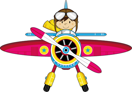 Leuke Cartoon Pilot en vliegtuig Stock Illustratie