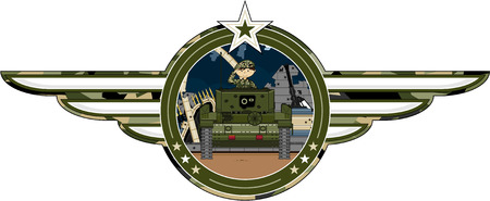 Cartoon Army Soldier and Tank Illustration