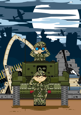 military beret: Cartoon Army Soldiers and Tank