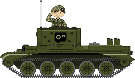military beret: Army Soldier and Tank Illustration