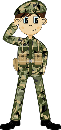 Cartoon Saluting Army Soldier Illustration