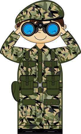 military beret: Cartoon Army Soldier with Binoculars Illustration