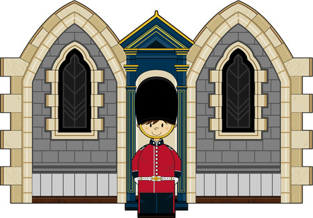 bearskin hat: Cartoon British Royal Palace Guard