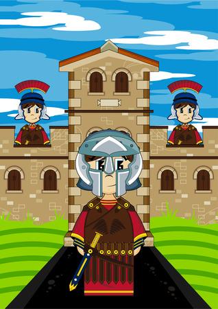 Roman Centurion Soldiers Guarding Fort illustration.