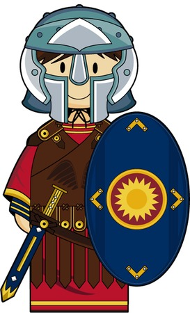 roman empire: Cartoon Roman Centurion Soldier illustration.