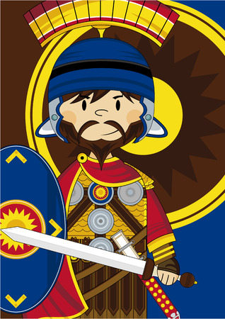roman empire: Cartoon Roman Centurion Soldier Illustration
