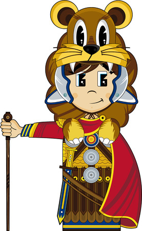 roman empire: Cartoon Roman Soldier wearing Lion Pelt