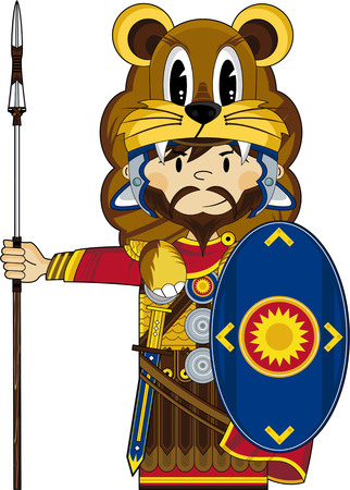 Cartoon Roman Soldier wearing Lion Pelt