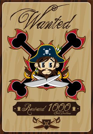 Cartoon Pirate Captain Wanted Poster Ilustração