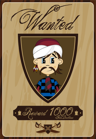 Cartoon Turban Pirate Wanted Poster