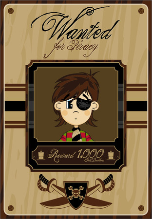 eyepatch: Cartoon Eyepatch Pirate Wanted Poster Illustration