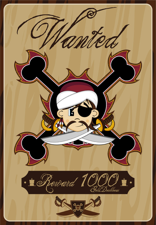 eyepatch: Cartoon Pirate Wanted Poster