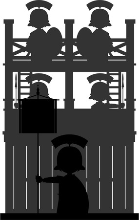 roman empire: Roman Soldiers at Watchtower in Silhouette
