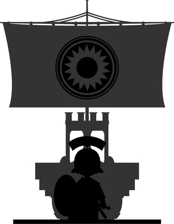 Roman Soldier and Warship in Silhouette Stock Vector - 81875515