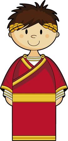 Dibujos animados antiguo emperador romano Ilustración de vector