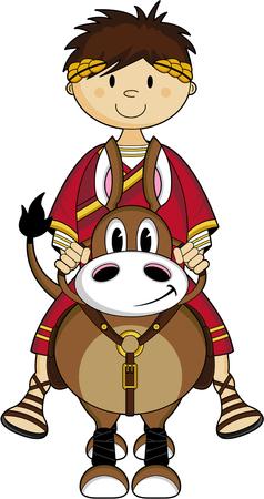 Roman Emperor riding a horse, cartoon illustration.