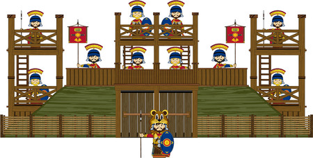 outpost: Cartoon Roman Soldiers at Fort Illustration