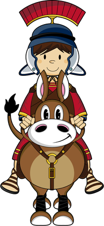 roman empire: Cartoon Roman Soldier on Horse