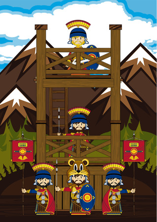 roman empire: Cartoon Roman Soldiers at Watchtower