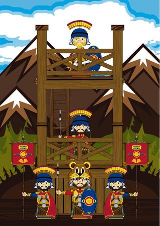 Cartoon Roman Soldiers at Watchtower