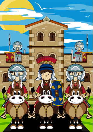 roman empire: Roman Centurion Soldiers at Fort Illustration