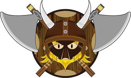 Cartoon Norse Viking Warrior with Axes Illustration