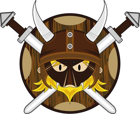 Cartoon Norse Viking Warrior with Swords Illustration