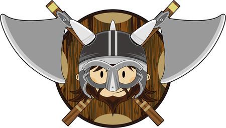 Cartoon Noorse Viking Warrior