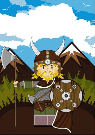 Cartoon Norse Viking Warrior met bijl Stock Illustratie