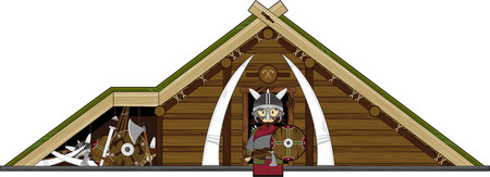 Cartoon Viking Warrior and Hut