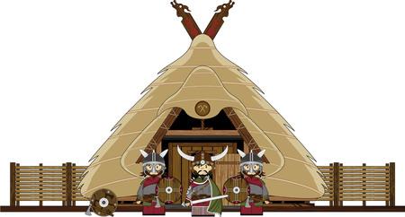 warriors: Cartoon Viking Warriors and Hut
