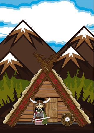 Norse Viking Warrior and Hut Illustration