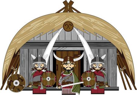 Norse Viking Warriors and Hut