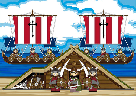 Viking Warriors with Ships and Hut