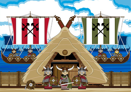 Viking Warrior with Ships and Hut